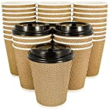 OzBSP Premium Disposable Paper Coffee Cups with Lids 12 oz - 100 Pack | Stylish Ripple Wall Design | Double Wall Insulated Hot Cups To Go | No Sleeve Required | Perfect for Office Parties Home Travel