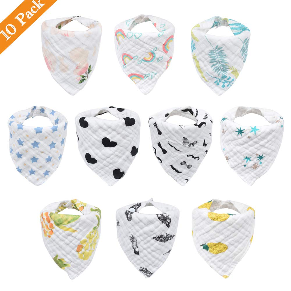 10-Pack Baby Bibs, Bandana Drool Bibs for Drooling and Teething, 100% Organic Cotton, Soft and Absorbent, Hypoallergenic Unisex Bibs for Baby Boys & Girls, Teething Bibs (Mixed Pattern Bibs) 61D1g-qhPaL
