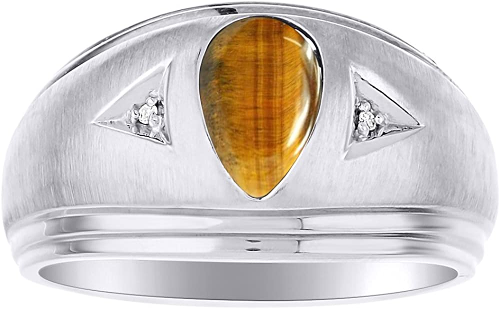 Mens Tiger Eye /& Diamond Ring Sterling Silver or Yellow Gold Plated Silver Band