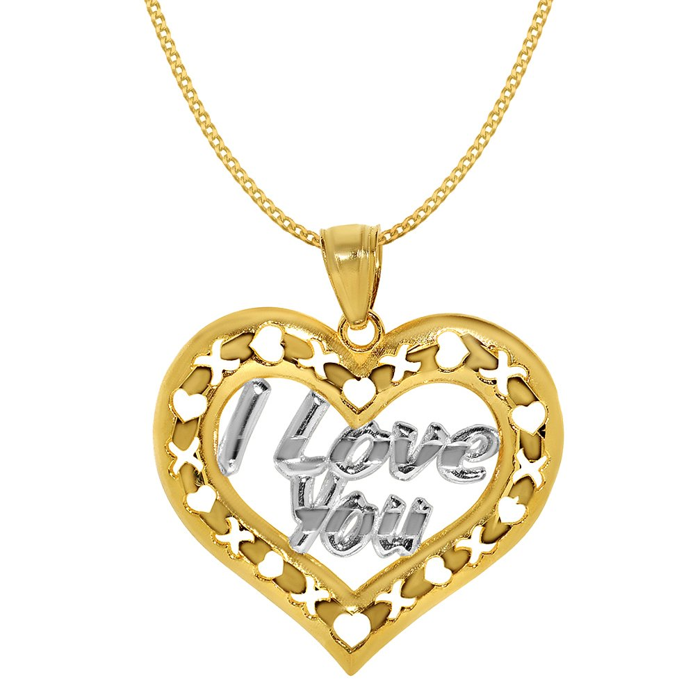 14k Two-tone Gold 'I Love You' XO Heart Pendant with 0.8-mm Yellow Gold Square Wheat Chain