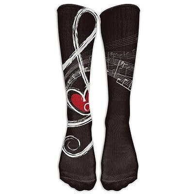 HEHE TAN Women Men Stockings Boots Long Socks Musical Note Heart Printed Crew Socks