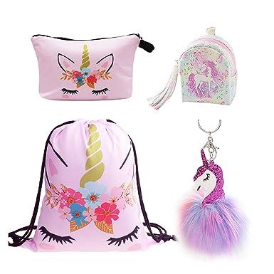 b5aec4d12120 DRESHOW Unicorn Gifts for Girls Drawstring Backpack/Make Up Bag Unicorn Set  Children Party (