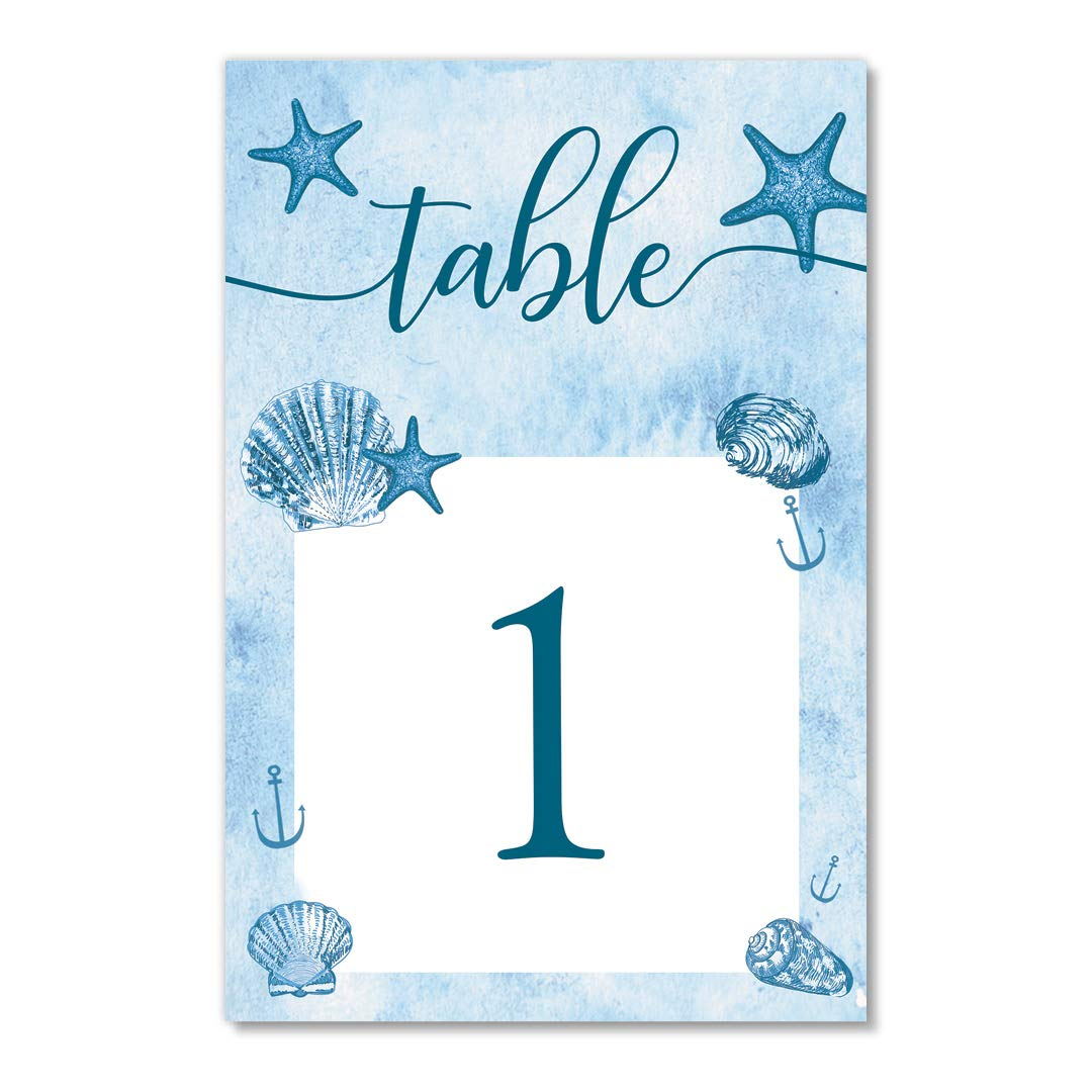 Blue Ocean Table Numbers 25 Pack Reserved Seats Beach Nautical Theme Event Décor Single Sided 4