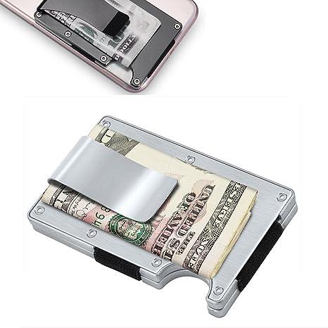 Metal billetera titular de tarjeta de crédito con bloqueo de RFID, dinero de aluminio billetera clip (plata)