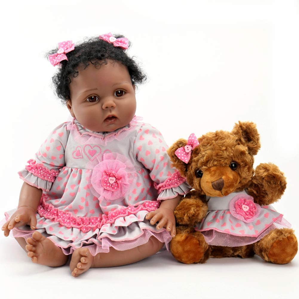 "22/"" Girl Doll African American Dark Skin Reborn Baby Dolls Full Body Waterproof"