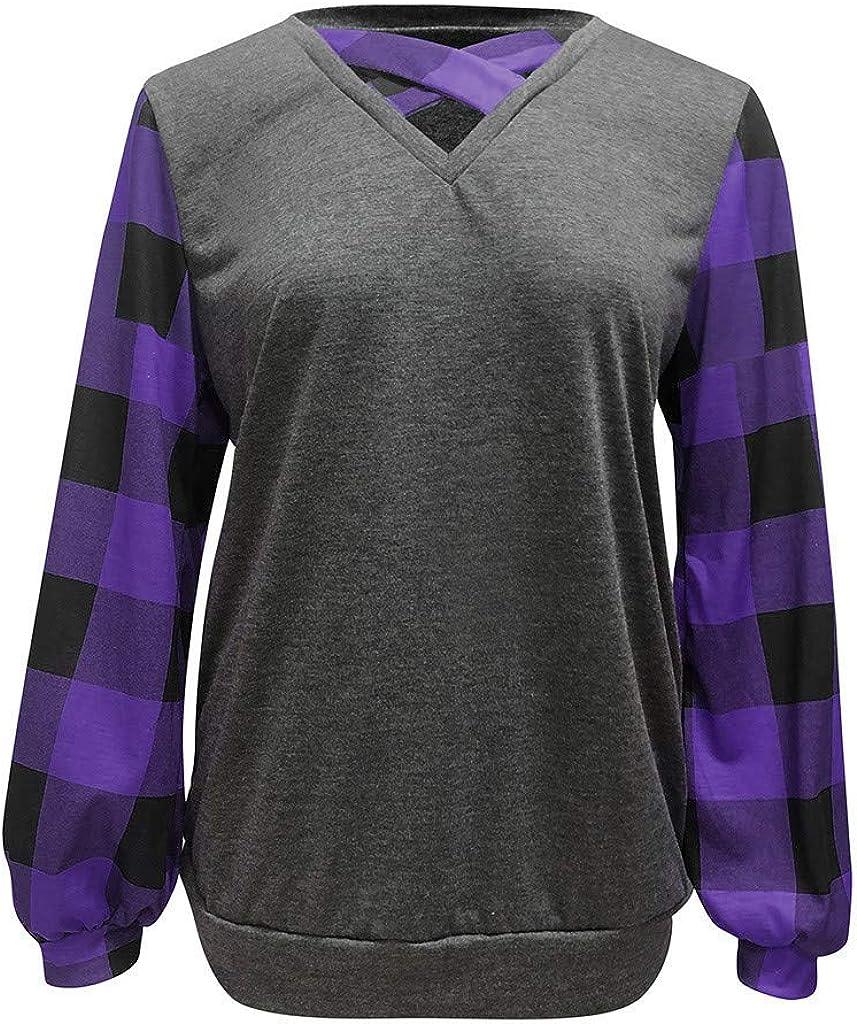 VZEXA Womens Blouse Lantern Sleeve V Neck Criss Cross T Shirt Plaid Colorblock Plus Size Tops