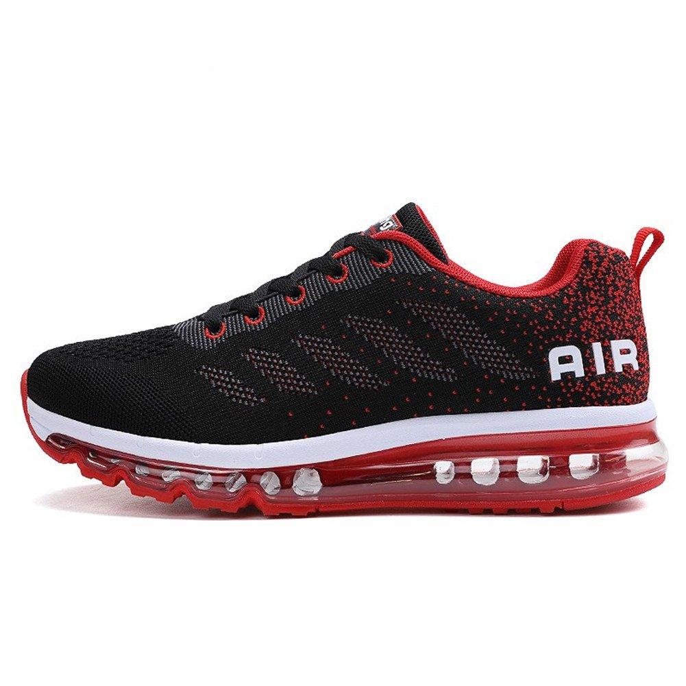 BETY Herren Damen Sportschuhe Laufschuhe mit Luftpolster Turnschuhe Profilsohle Sneakers Leichte Schuhe Rot
