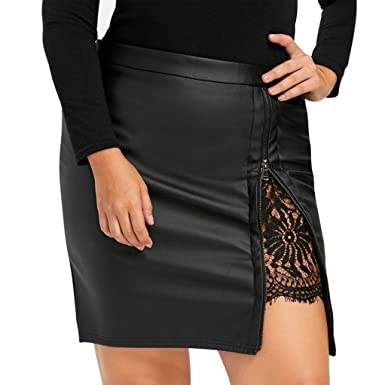 19cfe72ab97 Pingtr Womens PU Leather Skirt
