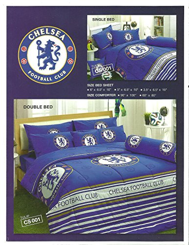 CHELSEA FOOTBALL CLUB Bedding In Bag Set (Twin Size, CS001); 1 Four Season Comforter with 3 pieces of Bed Fitted Sheet Set (Chelsea Quilt)