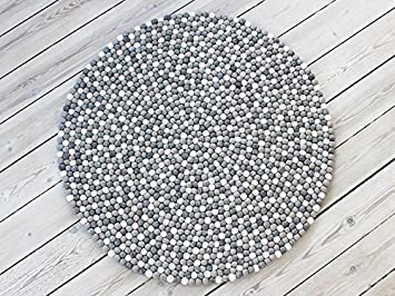 Filzkugelteppich Super Qualität zu tollen Preisen Multi Color 90cm Ø Nepaldo