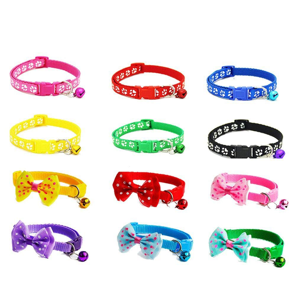 Jetloter 12 Pcs /Set Soft Nylon Puppy Cat Id Collar Adjustable Whelping Litter Bow Ties Collars with Bell