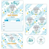 It's a Boy Blue Elephant Baby Shower Invitations for Boy, 20 Cards with Matching Envelopes and 40 Stickers