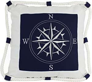 "Hampton Nautical Compass with Rope Decorative Thrown Beach Living Room, 16"", Blue"