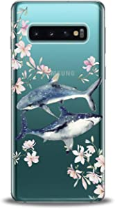 Anreda Silicone Phone Case for Samsung Galaxy S20 S10 Plus Note 20 5G S9 S8 S7 Teen Cute Floral Cute Cover Whale Love Design Art Shark Smooth Print Soft Fish Slim fit Flexible Girls Clear Flowers