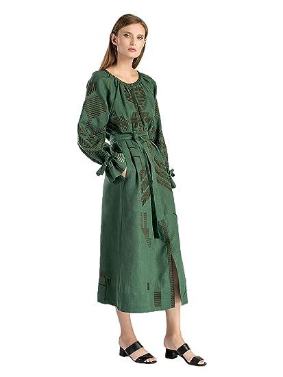 62506689366 ETNODIM Woman Ukrainian Ethnic Embroidered Boho Dress Long Sleeve  Full-Length Vyshyvanka Linen White Green