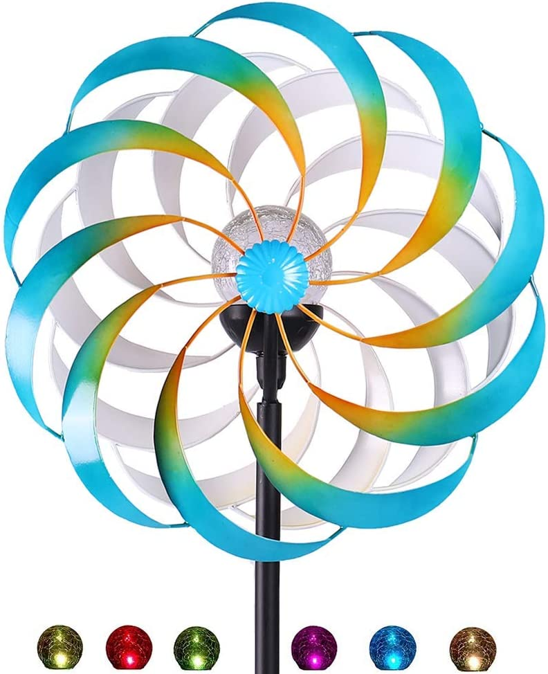 Idyllic Deer Solar Wind Spinner for Outdoor Decor, with Multi-Color LED Lighting, 360-Degree Rotation, Double-Sided Wind Blades, for Yards Gardens Christmas Decoration (75 Inch)