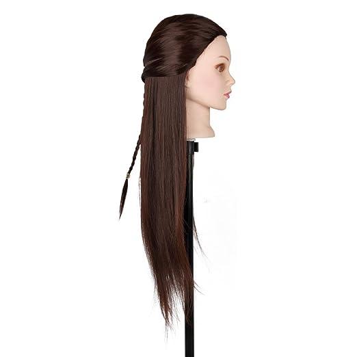 Maniquí de Cabeza para practicas de peluquería con cabello pelo real ...