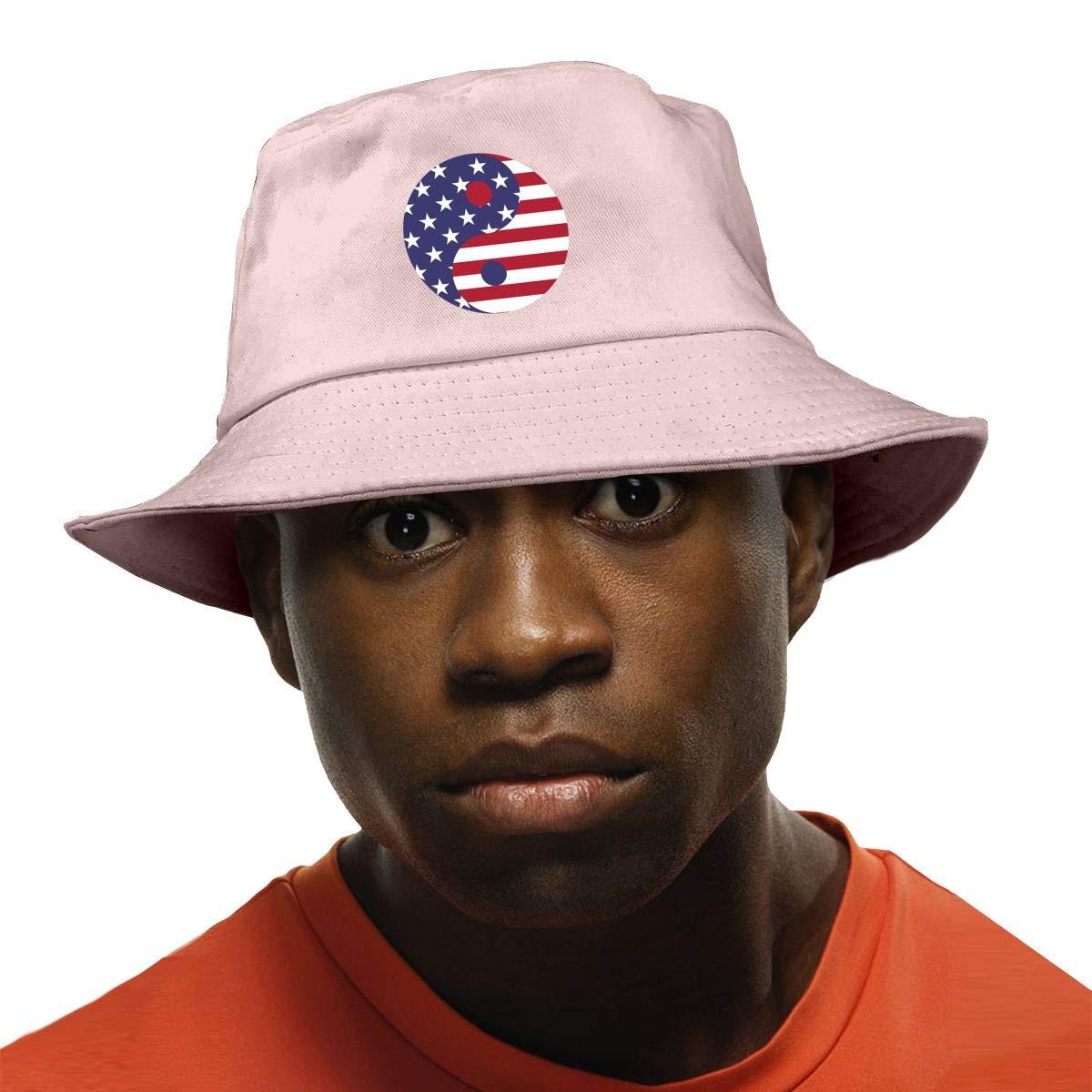 PPAN American Unisex Cotton Packable White Travel Bucket Hat Fishing Cap