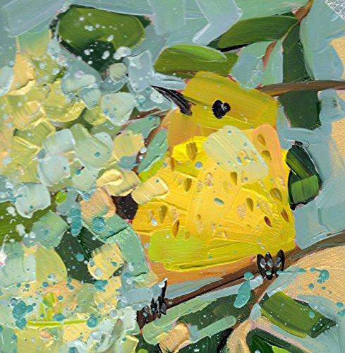 Yellow Warbler no. 130 Bird Fine Art Print by Angela Moulton 6 x 6 inch