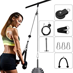 CELLTEK LAT pulldown Pulley System Gym Fitness Pulley Cable System DIY Loading Pin Lifting Triceps Rope Machine Workout Adjustable Length Home Gym Sport Accessories
