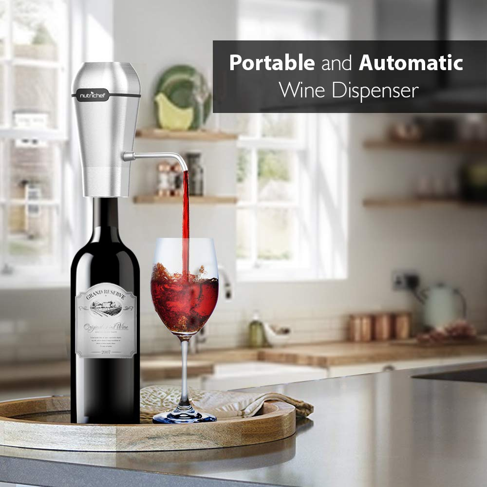 NutriChef Stainless Steel Electric Wine Aerator - Rechargeable Battery Pocket and Travel Bottle Tap Aerating Dispenser Pump Set and Accessories   Red/White Wine -PSLWPMP250, One Size by NutriChef (Image #3)