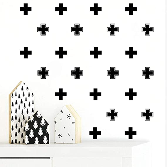 Black JUEKUI Cross Wall Decal Swiss Cross Decals for Kids Bedroom Baby Girls Boys Nursery Modern Geometric Decor Scandinavian Interior Minimalist Decor WS04