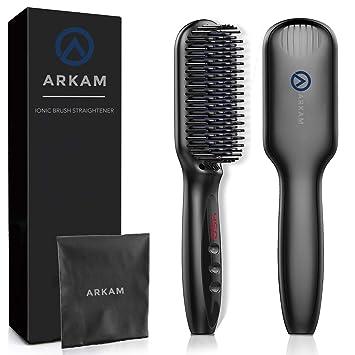 75d7d355608f Arkam Beard Straightener Brush for Men - Premium Hair Straightening Brush  and Beard Brush, Ionic Hair...