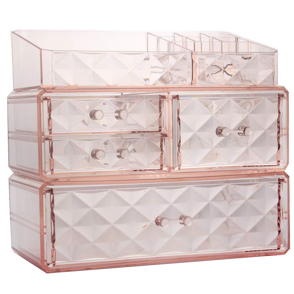 Makeup Organizer Acrylic Cosmetic Storage Drawers and Jewelry Display Box (4 drawer)