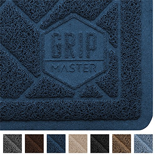 GRIP MASTER Durable Premium Cat Litter Mat (35x23), Highly Effective, XL Jumbo, No Phthalate, Water Resistant, Traps Litter from Box and Cats, Scatter Control, Mats Soft on Kitty Paws (Dark Blue)