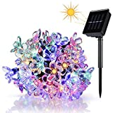 Wedna Solar Powered 23ft 50 LED Peach Blossom String Lights for Gardens, Lawn, Patio, Christmas Trees, Weddings, Parties Decorations(Multi-color)