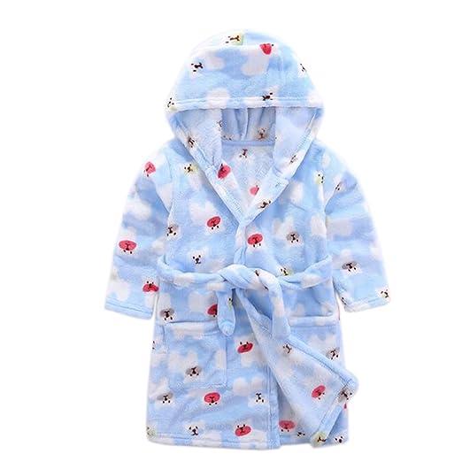 edd4242a85 Amazon.com  JIANLANPTT Cute Cartoon Boys Girls Hood Bathrobes Kids Flannel  Sleepwear Robes  Clothing