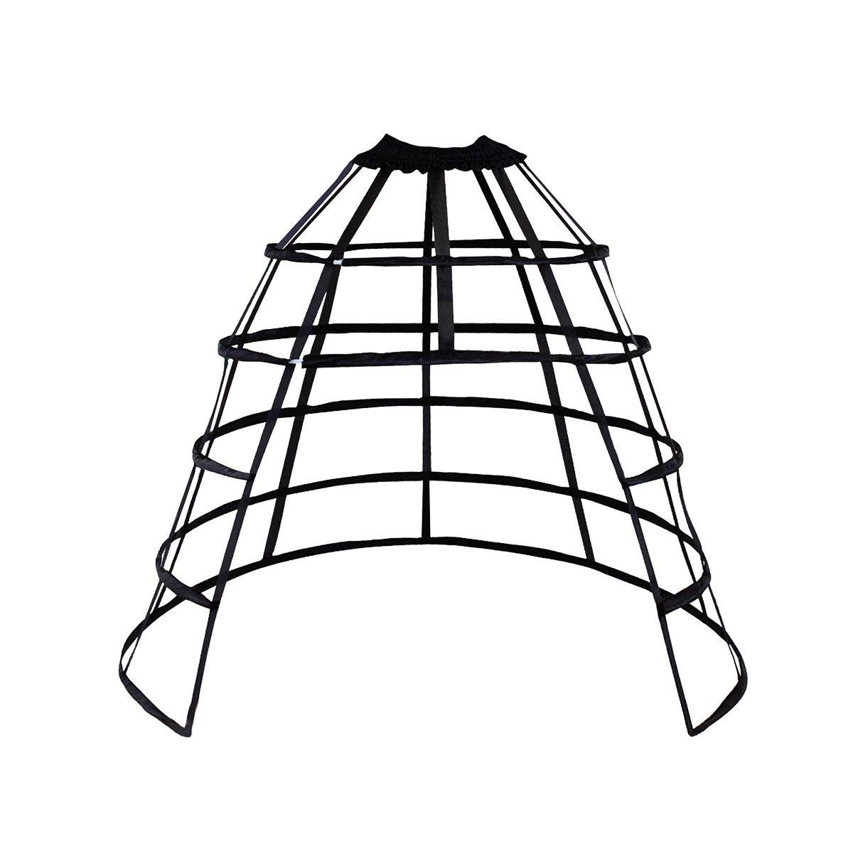 Renaissance 5-Hoop Black Open Front Pannier Cage - DeluxeAdultCostumes.com