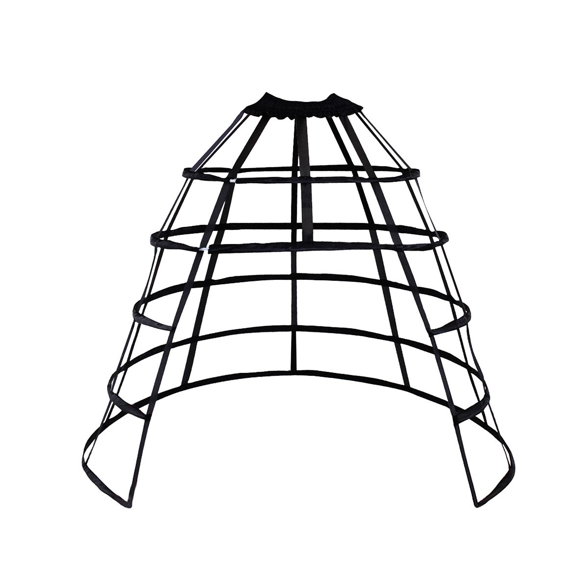 HappyStory Crinoline cage Hoop Skirt Petticoat Pannier 5 Hoops Bustle cage (Black Front-Open) by HappyStory (Image #1)