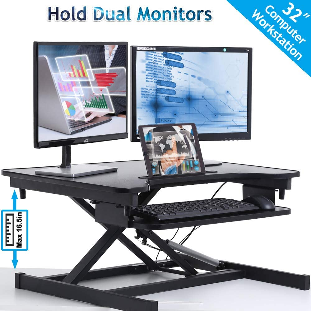 "32"" Standing Desk, Height Adjustable Stand Up Desk Converter Sit to Stand Desk Gas Spring Riser with Keyboard Tray, Ergonomic Home Office Computer Workstation for Desktop Laptop Dual Monitors, Black"