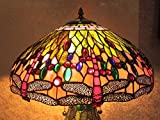 Tiffany Style Traditional Stained Glass Art Lighted Base Pink Dragonfly Table Lamp