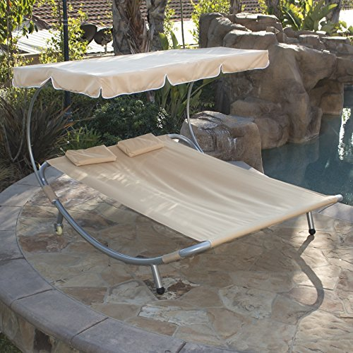 Belleze Patio Steel Double Hammock Bed Moving Sun Lounger Chaise w/ Canopy and Wheel (Swing Bed Outdoor Furniture)