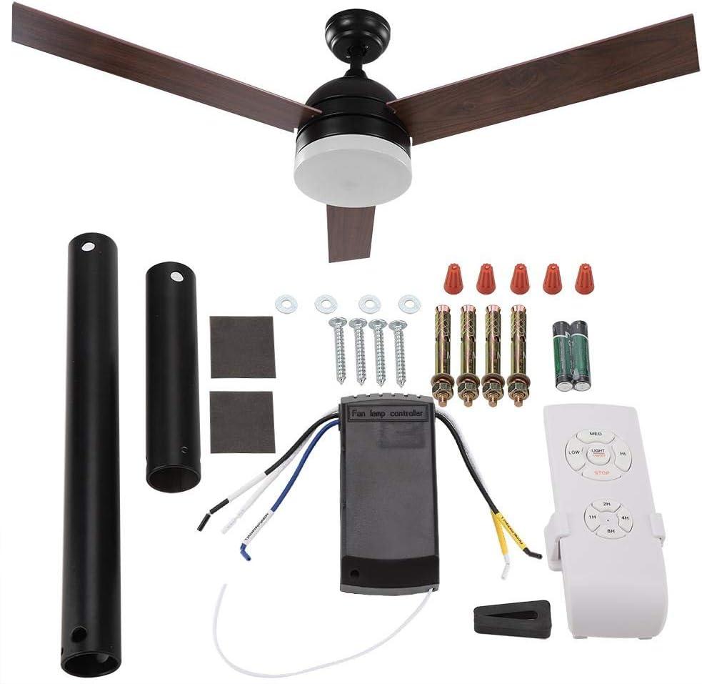 Schlafzimmer Schwarz 52  Matt Deckenventilator LED Pendelleuchte H/ängelampe mit Fernbedienung f/ür Wohnzimmer Restaurant Nannday Deckenventilator mit Beleuchtung