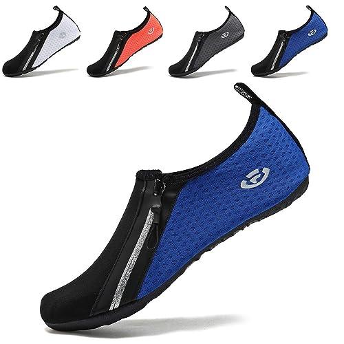 VIFUUR Zapatos de Agua Aqua Yoga para Mujer Hombre Cremallera Azul EU38/39