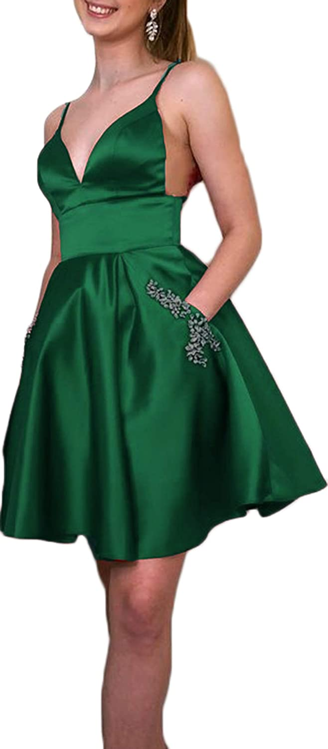 Emerald Green Ri Yun Womens Spaghetti Straps Prom Dresses Short 2019 Satin Beaded A Line Homecoming Dress with Pockets