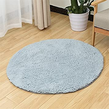 BowEaey Round Area Rugs Morden Cozy Shaggy Rug Soft Carpet Anti-Skid Floor Mat Decorative Pad for Parlor Living Room Kitchen Bedroom Bathroom Floor Home Nursery Decor (Coffee, Diameter 80cm)