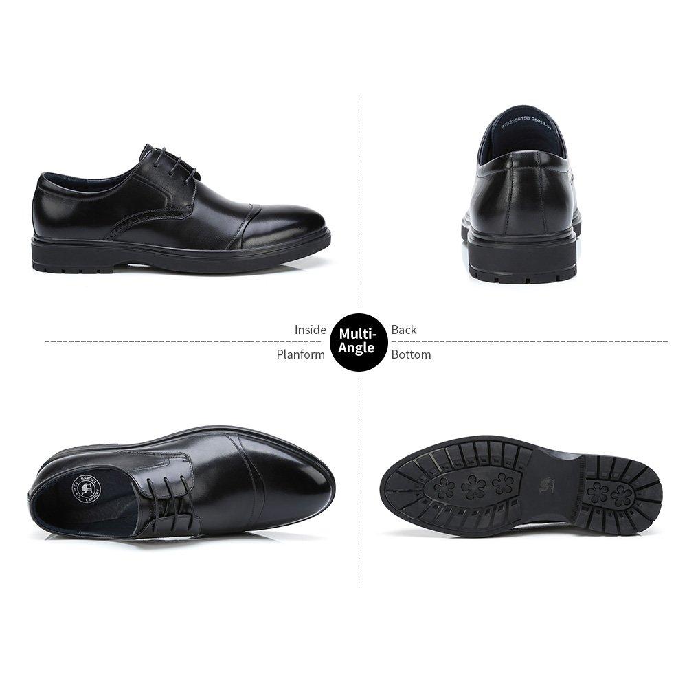 CAMEL Men\'s Leather Wingtip Oxford Shoes Wedding Shoes Lace up Cap Tuxedo Formal Dress Shoes - Black