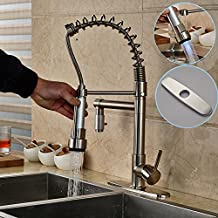 "Votamuta LED Light Pull Down Spray Kitchen Sink Faucet Swivel Spout Mixer Tap with 8"" Holes Cover Plate,Brushed Nickel"