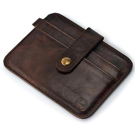 Ularma 2016 Moda Tarjeta de crédito Slim soporte Mini cartera ID caso monedero bolso bolsa (marrón)