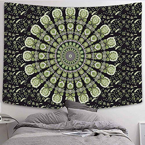 DBLLF Indian Mandala Tapestry Hippy Wall Hanging Indian Tapestries Wall Hanging Cotton Tapestry Bohemian Throw Gypsy Bedspread Picnic Beach Sheet (80×60Inches) DBLX050
