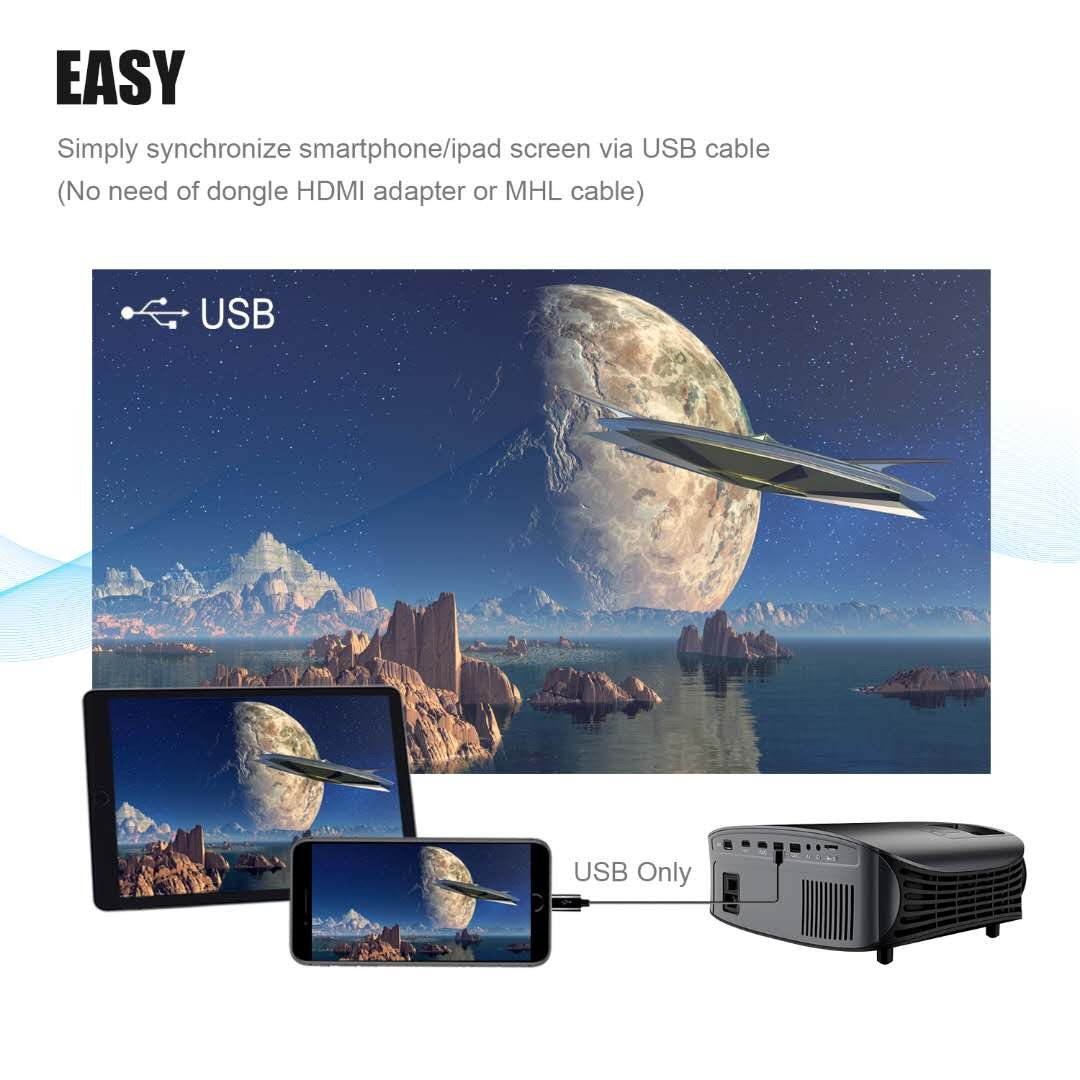 Projector Video Movie Home Theater 3500 lumens 1280x800 Native Resolution Support 1080P LED Projector for iPhone Laptop Andriod Smartphone PS4 Xbox TV Box Fire TV WS610 by BeamerKing by BeamerKing (Image #2)
