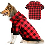 Blaoicni Plaid Dog Hoodie Sweatshirt Sweater for Extra Large Dogs Cat Puppy Clothes Coat Warm and Soft(XXL) (Color: red plaid, Tamaño: XXL)