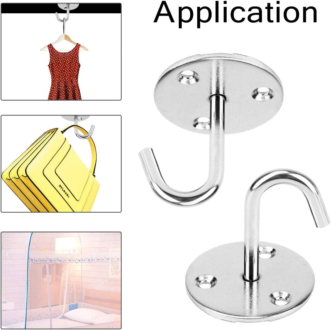 Fancywhoop Ceiling Hook Stainless Steel Heavy Duty Screw-in Hook 6Pcs Round Base Wall Hook Top Mount Plate Light Hook for Home Indoor Outdoor