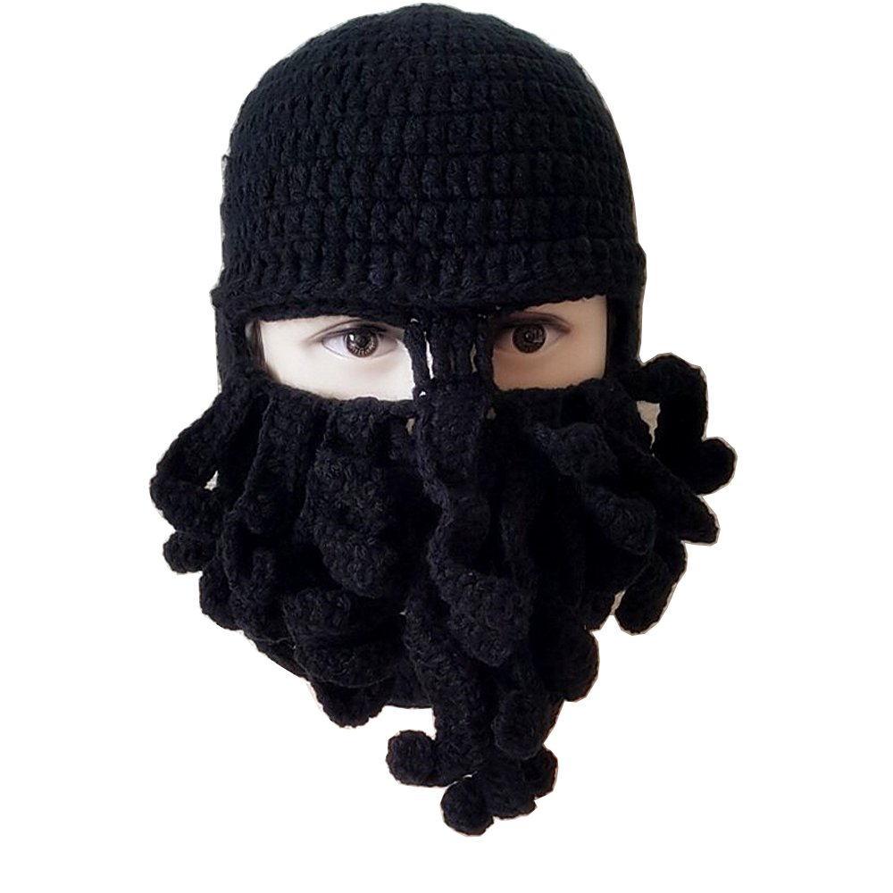 Amazon.com  Flyou Winter Warm Novelty Unisex Knitted Beard Hat Funny  Octopus Mask Beard Caps Crochet Beanies for Halloween Party  Clothing a69da40b2