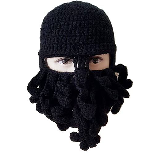 1900aa5af1b Flyou Winter Warm Novelty Unisex Knitted Beard Hat Funny Octopus Mask Beard  Caps Crochet Beanies for
