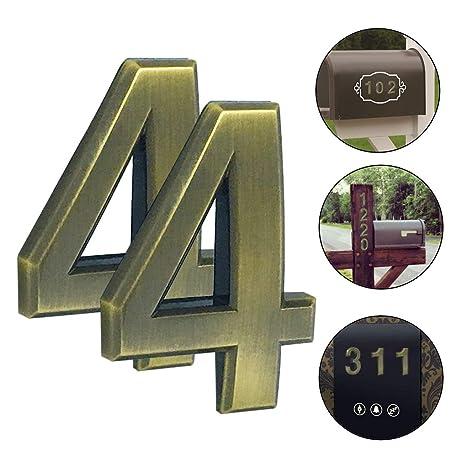 schwebender Effekt einfach zu installieren moderne Hausnummer je 1,9 cm Magicdo Zahl aus massivem 2er-Pack 2er-Pack #0, Messing